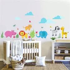 thème chambre bébé decoration chambre bebe theme jungle 10 sticker animaux de la jungle