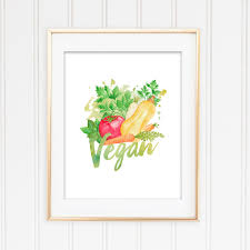 vegan home decor vegan print kitchen print vegan wall art watercolor print