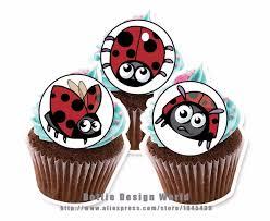 Ladybug Themed Baby Shower Cakes - 24 ladybug ladybird edible cake topper wafer rice paper cake