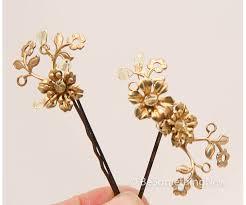 gold hair accessories brass and gold flower hair accessories vintage fower bobbie pins