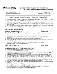 Warehouse Distribution Resume Michael Brady Resume Mar 17 U002715