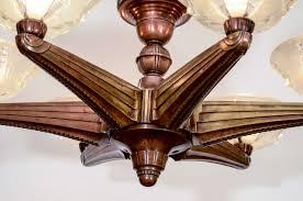 art deco six light bronze chandelier by atelier petitot at 1stdibs
