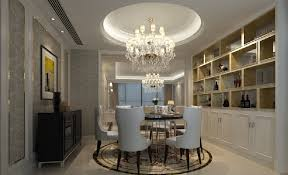 3d dining room design suspended ceiling and wine cabinet