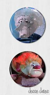 snow miser and heat miser miser brothers pin back button