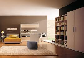 Minimalist Workspace Large Bedoom Design Idea In Beige Themed Feat Likeable Yellow Bed