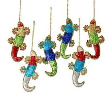 ornaments of colorful sequin lizards set of 6