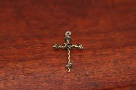 barbed wire cross pendant in nickel mini ambriz jewelry