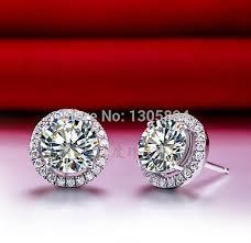diamond stud earrings for women aliexpress buy 2ct gold earrings brilliant lc carbon