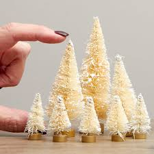 assorted frosted bottle brush trees miniatures