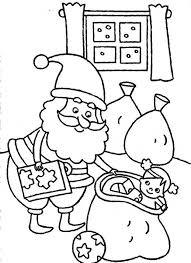 santa claus preparing delivering christmas gifts coloring