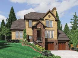 hillside garage plans houses with front porch due to lot slope search