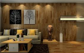 wood floor walls and ceiling design of living room interior