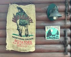 vintage burlap potato sack 50 lb north country mountain man