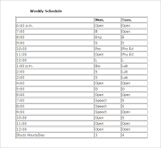 study schedule templates u2013 14 free word excel pdf format