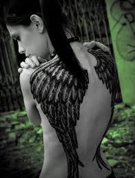 fallen wings on back black ink com