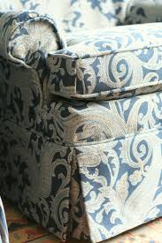 Custom Slipcovers By Shelley Custom Slipcovers By Shelley Blue Paisley Swivel Rocker Chairs