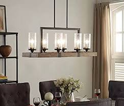 vineyard oil rubbed bronze 6 light chandelier vineyard 6 light metal and wood chandelier amazon com
