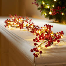 cordless pre lit berry garland at brookstone buy now