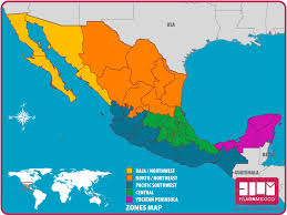 regions of mexico map general info in mexico