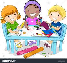 illustration diverse group preschool kids working stock vector