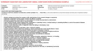 Veterinarian Resume Examples Laboratory Animal Care Veterinarian Cv Work Experience Samples