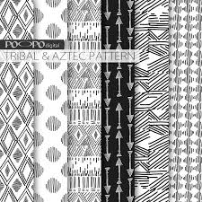 black and white digital paper tribal aztec pattern doodle