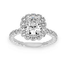 flower halo engagement ring henri daussi cushion flower halo engagement ring