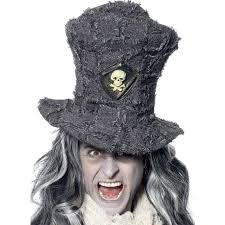 gothic grave digger topper charcoal grey hat fancy dress halloween