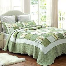 Difference Between Coverlet And Quilt Amazon Com Slpr Sweet Serenity 3 Piece Real Patchwork Cotton