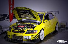 mitsubishi evo jdm yellow hunter mitsubishi evo 9 w photo japcorner