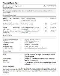 Samples Of Resume Formats by Resume Format For Fresher Download Pdf