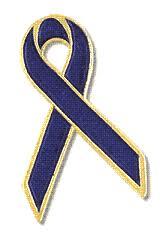blue and gold ribbon a zlapelpins crohn s disease purple and blue awareness