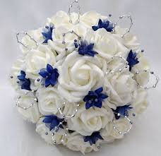 Blue Wedding Bouquets Posies Artificial Wedding Flowers Brides Posy Bouquet And 2