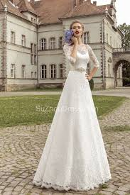 white wedding dress with royal blue sash royal lace bridal gowns 2018 half sleeve a line wedding dress