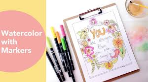 watercolor with markers painting watercolour flowers tombow dual