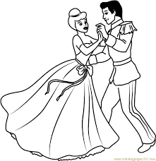 disney best couple prince and cinderella coloring page free