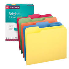 smead 1 3 cut assorted position tab file folders assorted colors