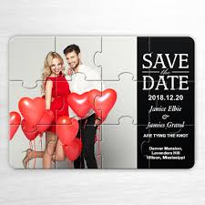 save the date invitation our day classic black wedding save the date puzzle invitation cards