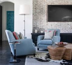 brick wall living room design natural brown finish wooden wall