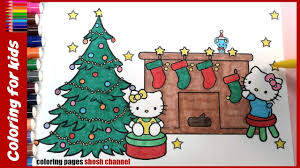 christmas hello kitty colouring pages with xmas tree coloring from