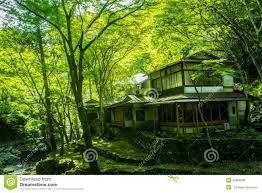 traditional japanese house design old japanese house in the forest stock photo image 45868285