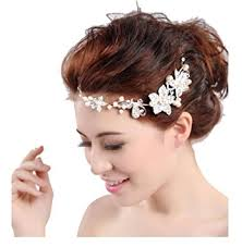 hair online india buy boutique wedding silver tone flower pearl bead hair comb hair