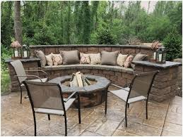 Concrete Backyard Ideas Backyards Beautiful Seating Wall Fire Pit And Stamped Concrete