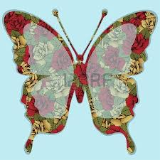 butterflies colored with ornament seamless pattern in style