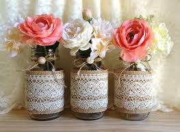 jar vases burlap and lace covered 3 jar vases wedding deocration