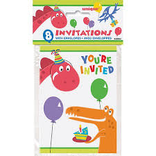 happy birthday u0027dino party u0027 invitations w envelopes 8ct