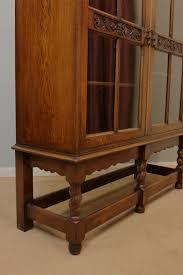 antique oak glazed bookcase display cabinet 260194