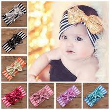 s headbands sequin bowknot striped headbands baby turban headwrap big