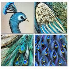 merak biru merak lukisan minyak besar ukuran 20x30 inch kubisme tangan dicat
