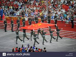 Ceremony Flag Soldiers March With The Chinese Flag During The Opening Ceremony
